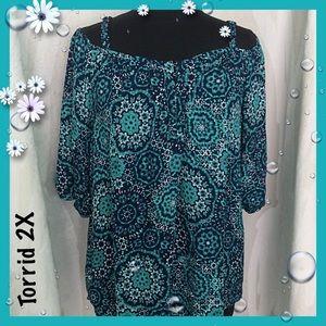 Torrid Turquoise Print Cold Shoulder Top Size 2X
